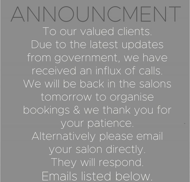 ANNOUNCEMENT 📢 To our valued clients. Due to the latest updates from government we will be CLOSED as of end of trade Wednesday. We have received an influx of calls and will be back in the salons tomorrow to organise your future bookings and we thank you for your patience and support. Alternatively an easier way to connect is via email to your chosen salon. There is an action plan in place and the teams will respond. These are the emails below.👇🏼 Sthmelbourne@rokkebony.com.au Camberwell@rokkebony.com.au Collinsplace@rokkebony.com.au Glenwaverley@rokkebony.com.au Malvern@rokkebony.com.au Mentone@rokkebony.com.au Rowville@rokkebony.com.au Toorak@rokkebony.com.au Wheelers Hill - office@rokkebony.com.auWe look forward to seeing you all before a small time apart. Regards, The rokk ebony team. ❤️ . . . . . #covidupdate #covidmelbourne #rokkebony #rokkebonyupdate #melbournesalon #melbournehairsalon #melbournelife #melbournelockdown #melbournestage4lockdown #announcement